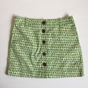 J. Crew leaf button front high waisted mini skirt